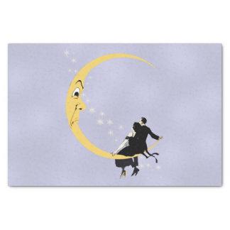ヴィンテージの怒っている三日月形の満月様顔貌はカップルを主演します 薄葉紙