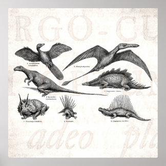 ヴィンテージの恐竜のイラストレーションのレトロの恐竜 ポスター