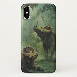 ヴィンテージの恐竜、ジャングルのセントロサウルス iPhone X ケース