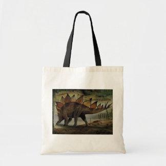 ヴィンテージの恐竜、ステゴサウルス、スパイクが付いている尾 トートバッグ