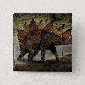 ヴィンテージの恐竜、ステゴサウルス、スパイクが付いている尾 缶バッジ
