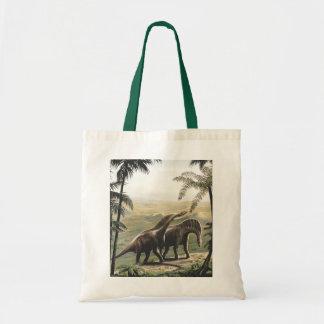ヴィンテージの恐竜、ヤシの木を持つアマルガサウルス トートバッグ