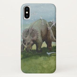 ヴィンテージの恐竜、草原で牧草を食べているセントロサウルス iPhone X ケース