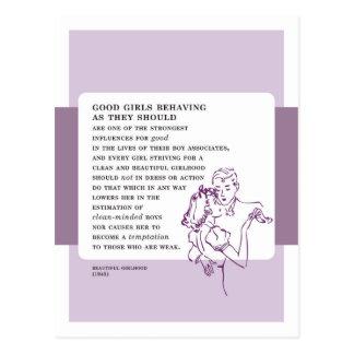 ヴィンテージの悪い状態のアドバイスをしているよい女の子 ポストカード