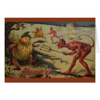 ヴィンテージの悪魔のよういハロウィンの挨拶状 グリーティングカード