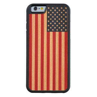 ヴィンテージの愛国心が強いアメリカ人米国の旗のiPhone6ケース CarvedチェリーiPhone 6バンパーケース
