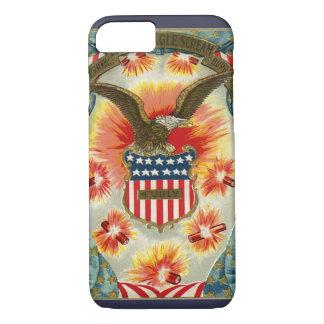 ヴィンテージの愛国心が強い7月4日のワシおよび米国旗 iPhone 8/7ケース