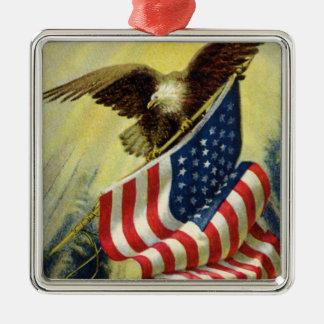 ヴィンテージの愛国心、愛国心が強いワシの米国旗 メタルオーナメント
