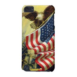 ヴィンテージの愛国心、愛国心が強いワシの米国旗 iPod TOUCH 5G ケース