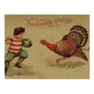 ヴィンテージの感謝祭のフットボールおよびトルコ 葉書き