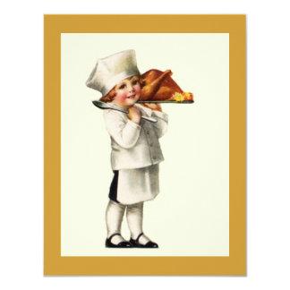 ヴィンテージの感謝祭の子供のシェフのトルコの招待状 カード