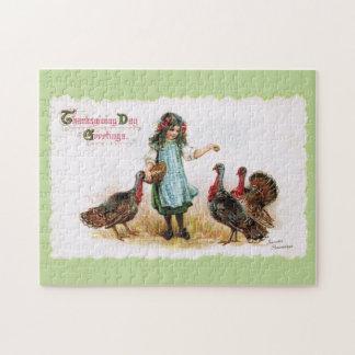 ヴィンテージの感謝祭の農場で働く女性及び七面鳥のパズル ジグソーパズル