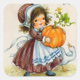 ヴィンテージの感謝祭日女の子 スクエアシール