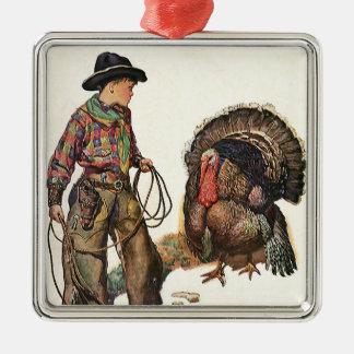 ヴィンテージの感謝祭、トルコをつかまえているカウボーイ メタルオーナメント