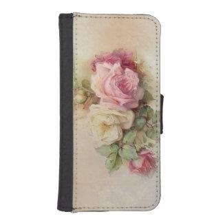 ヴィンテージの手塗りのバラ iPhoneSE/5/5sウォレットケース