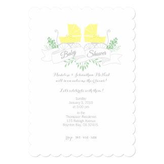 ヴィンテージの手押車の双生児のベビーシャワーの招待 カード