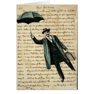 ヴィンテージの手書き-ブランクの飛んでいるな傘の人 カード