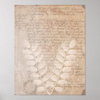 ヴィンテージの手紙および植物のプリントポスター プリント