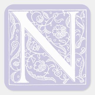 """ヴィンテージの手紙Nのモノグラムの淡い色のな紫色のラベンダー""""N """" スクエアシール"""