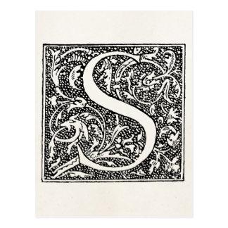 """ヴィンテージの手紙Sのモノグラムの羊皮紙""""S""""のイニシャル ポストカード"""