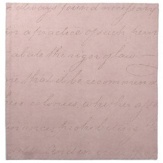 ヴィンテージの文字の植民地の住民のばら色の硫酸紙 ナプキンクロス