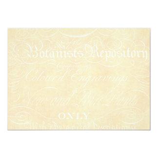 ヴィンテージの文字の植物学者の硫酸紙のテンプレート カード