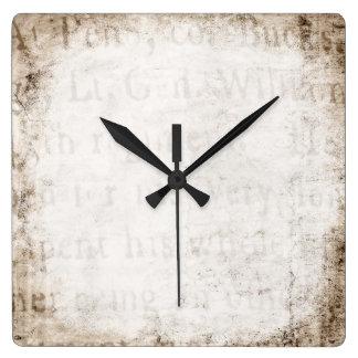 ヴィンテージの文字の1700年の背景文書のテンプレートのブランク スクエア壁時計