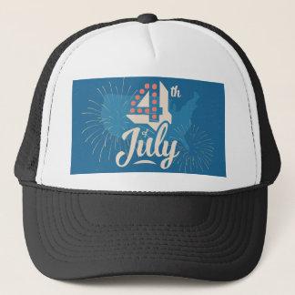 ヴィンテージの文字の7月はっきりしたな4日の独立赤い青 キャップ