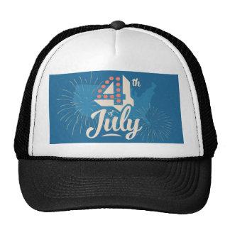 ヴィンテージの文字の7月はっきりしたな4日の独立赤い青 トラッカー帽子