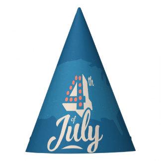 ヴィンテージの文字の7月はっきりしたな4日の独立赤い青 パーティーハット