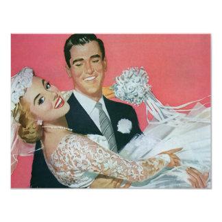 ヴィンテージの新婚者、花嫁の招待状を運んでいる新郎 カード