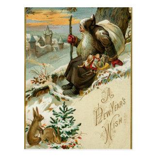 ヴィンテージの新年サンタ ポストカード
