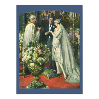 ヴィンテージの新郎新婦の教会結婚式招待状 カード