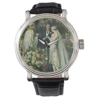 ヴィンテージの新郎新婦の教会結婚式 腕時計