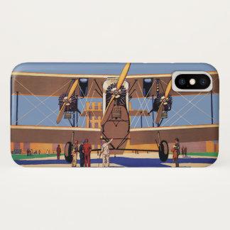 ヴィンテージの旅行および交通機関の複葉機の飛行機 iPhone X ケース