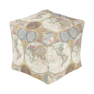 ヴィンテージの旅行者の世界地図 プーフ