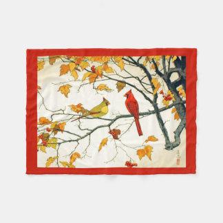 ヴィンテージの日本のなスケッチ、枝の(鳥)ショウジョウコウカンチョウ フリースブランケット
