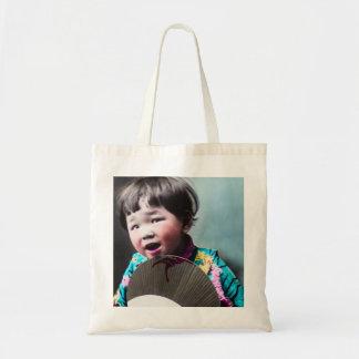 ヴィンテージの日本のな小さな女の子および紙ファン日本 トートバッグ