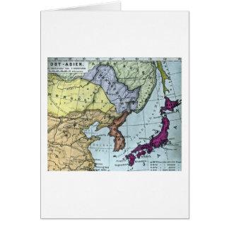 ヴィンテージの日本のな手によって染められる地図の日本 カード