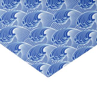 ヴィンテージの日本のな波、コバルトブルーおよび白 薄葉紙