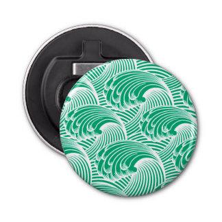 ヴィンテージの日本のな波、ヒスイ緑および白 栓抜き