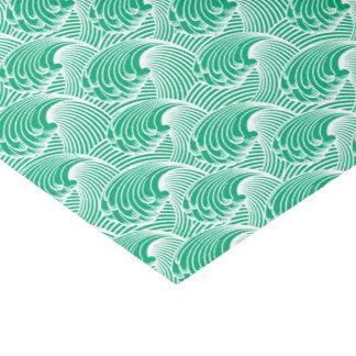 ヴィンテージの日本のな波、ヒスイ緑および白 薄葉紙