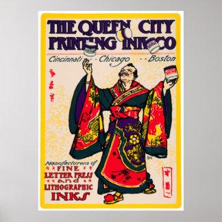 ヴィンテージの日本のな着物の人の印刷インキの広告はごまかします ポスター