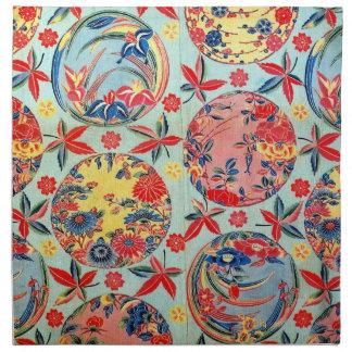 ヴィンテージの日本のな着物の織物(Bingata) ナプキンクロス