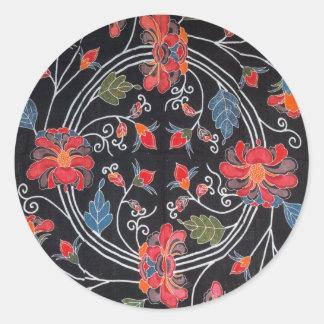 ヴィンテージの日本のな着物の織物(Bingata) ラウンドシール