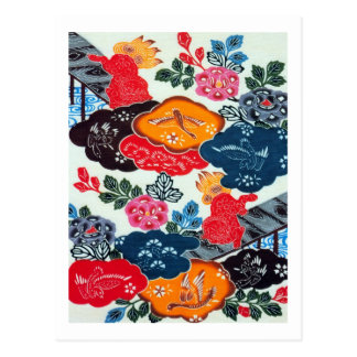 ヴィンテージの日本のな着物の織物(Bingata) 葉書き