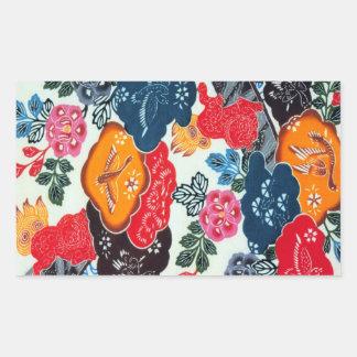 ヴィンテージの日本のな着物の織物(Bingata) 長方形シール