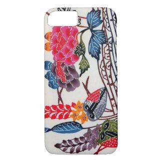 ヴィンテージの日本のな着物の織物(Bingata) iPhone 7ケース