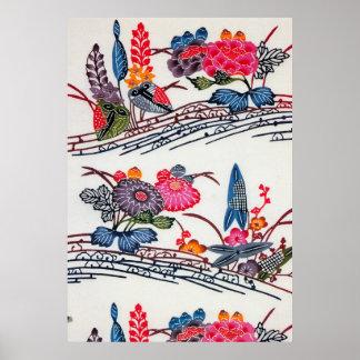 ヴィンテージの日本のな着物の花柄パターン ポスター