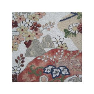 ヴィンテージの日本のな着物の花柄 キャンバスプリント